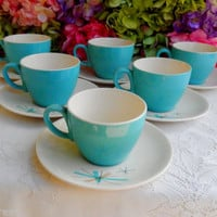 6 Beautiful Vintage Retro Salem Pottery Cups & Saucers ~ North Star ~ Turquoise