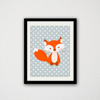 "Fox Print. Nursery Print. Woodland Animal. Cute Fox. Polka Dots. Kid Bedroom. Animal. Simple. Gift Idea. Baby Shower. 8.5x11"" Print."