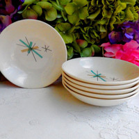 6 Beautiful Vintage Retro Salem Pottery Dessert Bowls ~ North Star ~ Turquoise