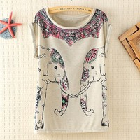 Cute Elephants Print Shirt with Flora Details Color Gray DP0407