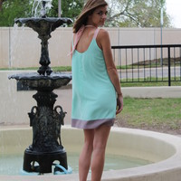 Spring Mint Sleeveless Colorblock Dress