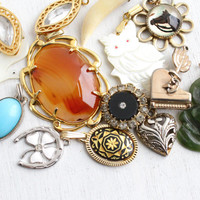 Vintage Pendant Lot - 14 Retro Costume Jewelry Charms for Necklaces, Bracelets - Rhinestones, Agate, Mother of Pearl, Damascene, Animals