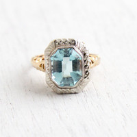 Vintage 14k Yellow & White Gold Simulated Aquamarine Ring - 1930s Size 5 1/2 Two Tone Filigree Blue Stone Fine Jewelry