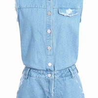 ROMWE Lapel Mill White Roll-up Denim Light-blue Jumpsuit