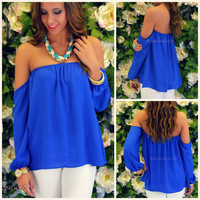 Melrose Royal Blue Off Shoulder Chiffon Top