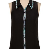 floral contrast trim button down sleeveless blouse