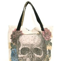 Skull Flower Canvas Tote by Loungefly