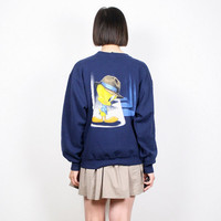 Vintage Tweety Bird Sweatshirt Navy Blue Cartoon Screen Print Novelty Print Pullover Sweater 1990s 90s Loony Toons Sweater M Medium L Large