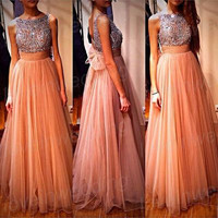 Long Prom Dress,Vintage Prom Dress,Custom Made Beaded Prom Dress,Girls Pageant/Graduation Dress,Long Bridesmaid Dress,Long Evening Dress