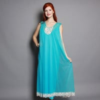 60s Aqua NIGHTGOWN / SHEER Nylon Chiffon Double Layer Sweep with LACE