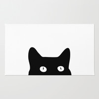 Black Cat Area & Throw Rug by Good Sense | Society6