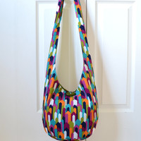 Hobo Bag, Sling Bag, Geometric, Blue, Orange, Green, Magenta, Hippie Purse, Cross Body Bag