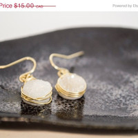 SPRING SALE White Druzy Quartz Agate Dangle Earrings
