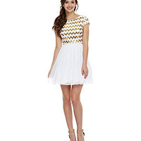 B. Darlin Cap-Sleeve Sequin Chevron Dress | Dillards.com