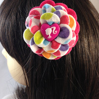 Camellia Felt Polka Dot Flower Hair Clip with Pink Ponytail Heart Button