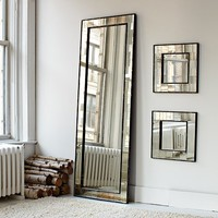 Antique Tiled Floor Mirror