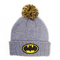 Grey Marl Knitted Batman Bobble Hat : TruffleShuffle.com