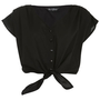 Black Crop Tie Front Tee - Tops  - Clothing  - Miss Selfridge