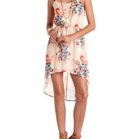 FLORAL PRINT CHIFFON HIGH-LOW DRESS