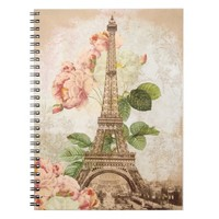 Paris Pink Rose Vintage Romantic Spiral Notebook