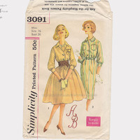 1950s Dress Pattern Vintage Simplicity Bust 36 Full Skirt Sheath & Transfer