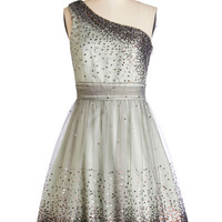 ModCloth Mid-length One Shoulder A-line Starlight Hearted Dress in Mint