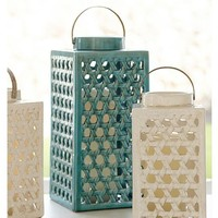 Shoreline Ceramic Lattice Lanterns - Turquoise