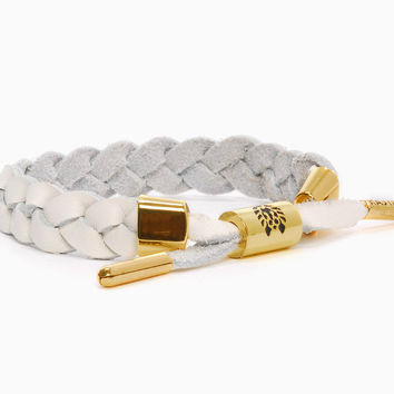Dove Leather Braided Bracelet (White)