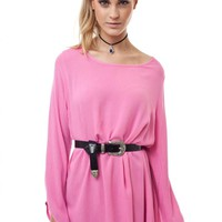 Pink Long Sleeve Day Dress