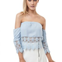 Blue Off Shoulder Mexi Crop Top