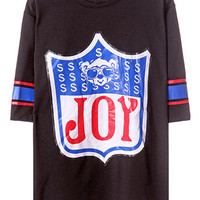 ROMWE Joy Print Cropped Sleeves Black T-shirt