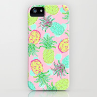Pineapple Pandemonium Tropical Spring iPhone & iPod Case by Lisa Argyropoulos | Society6