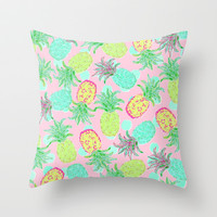 Pineapple Pandemonium Tropical Spring Throw Pillow by Lisa Argyropoulos | Society6