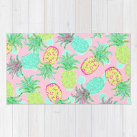 Pineapple Pandemonium Tropical Spring Area & Throw Rug by Lisa Argyropoulos | Society6