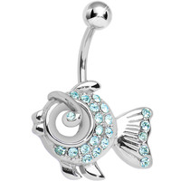 Aqua Gem Fancy Fish Belly Ring | Body Candy Body Jewelry