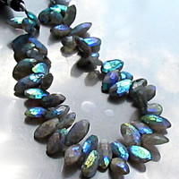 Silvery Gray Labradorite Marquise Cut with AB Finish marquis, grey,