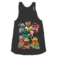 Hipster Muppets Collection on a Tri Blend Black Racerback