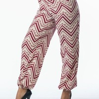 Burgundy Red Tribal Harem Pants