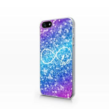 TIP4-188 Love Glitter Infinity, 2D Printed Clear case, iPhone 4 case, iPhone 4s case, Hard Plastic Case