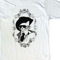 White T-Shirt w/ Gothic Cat Graphic