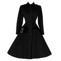 Vintage 1950's Black Wool Rhinestone Buckle Princess Coat