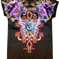 Black Short Sleeve Tunic Top w/ Multicolor Gothic Graphic