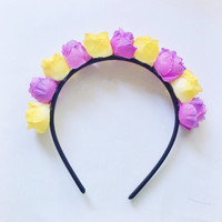 "Handmade ""Flower Fairy"" Purple and Yellow Rosebud Flower Crown Headband Easter Spring Hair Accesories"