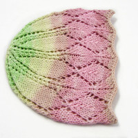 Pink and green cotton laced beanie, cool hat for kids, 9-24 month old girls, READY TO SHIP