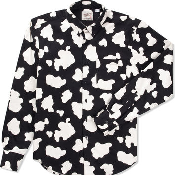 Naked & Famous Black & White Cow Print Shirt