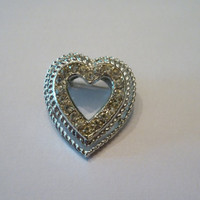 Vintage Rhinestone Silver Heart Brooch Pin costume Jewelry Love