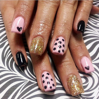 Black & Pink Polka dot hearts False nails set