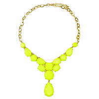 Electric Bolt Neon Yellow Stone Drop Necklace