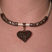 Rose Copper Heart Day Collar
