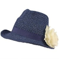 Ladies Summer Light Weight Lace Flower Sun Crushable Fedora Trilby Hat Blue